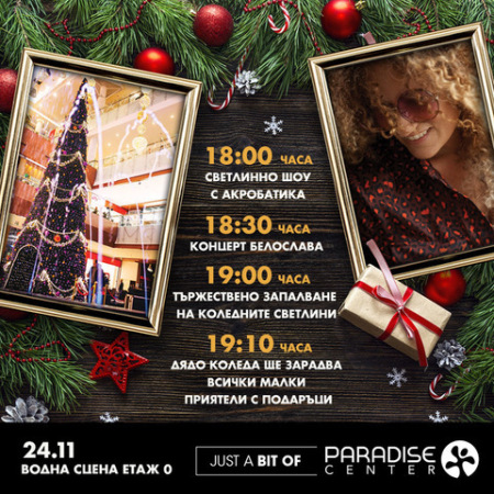 Picture: Let us light together the lights of the Christmas tree at Paradise Center at level 0, Water scene on 24.11. at 18:00 h